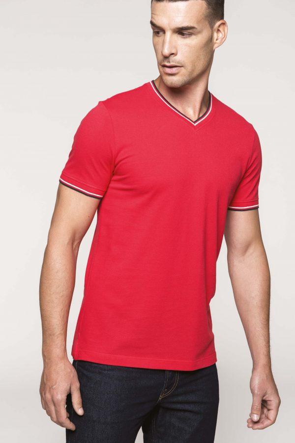 T-shirt de homem em malha piqué com decote V